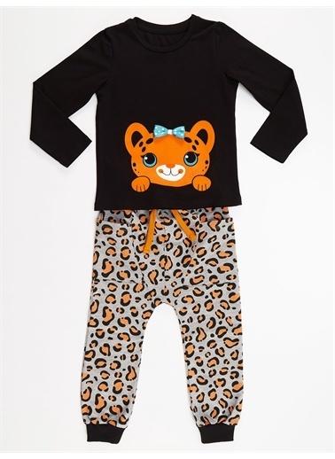 Denokids Küçük Leopar Kız Pantolon Takım Renkli
